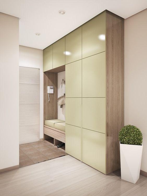 Meuble d'entré - Contemporain - armoire lustré couleur et bois