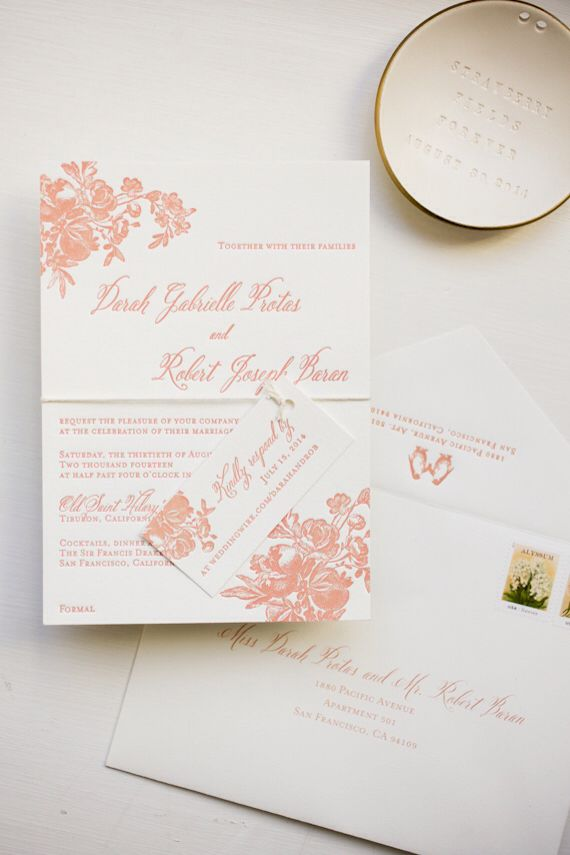 Pink flowers invitations.
