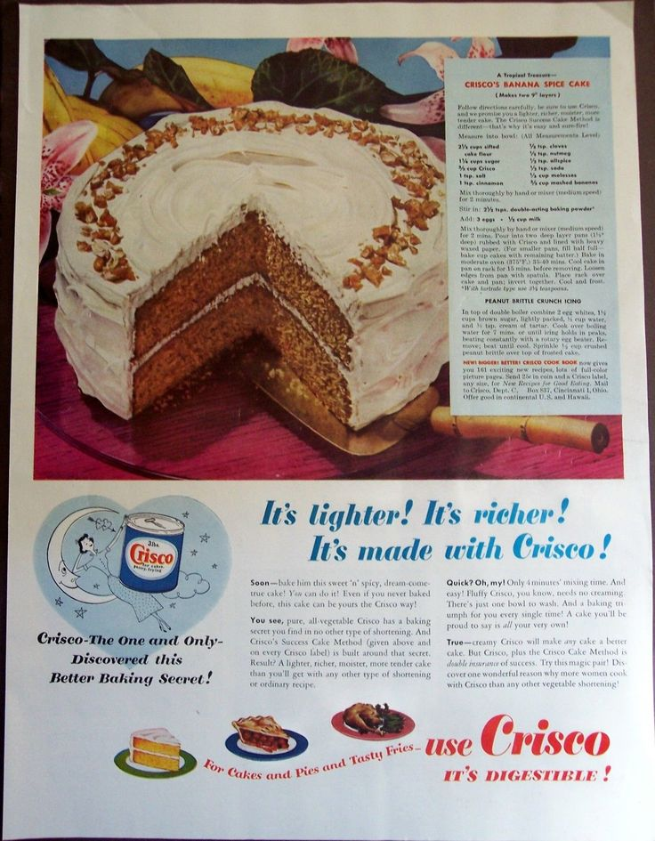 1949 vintage food Ad CRISCO recipe for Banana Spice Cake, Peanut Brittle icing | eBay