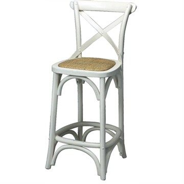 Sherwood Solid Oak Timber Cross Back Low Bar Chair with Rattan Seat - White