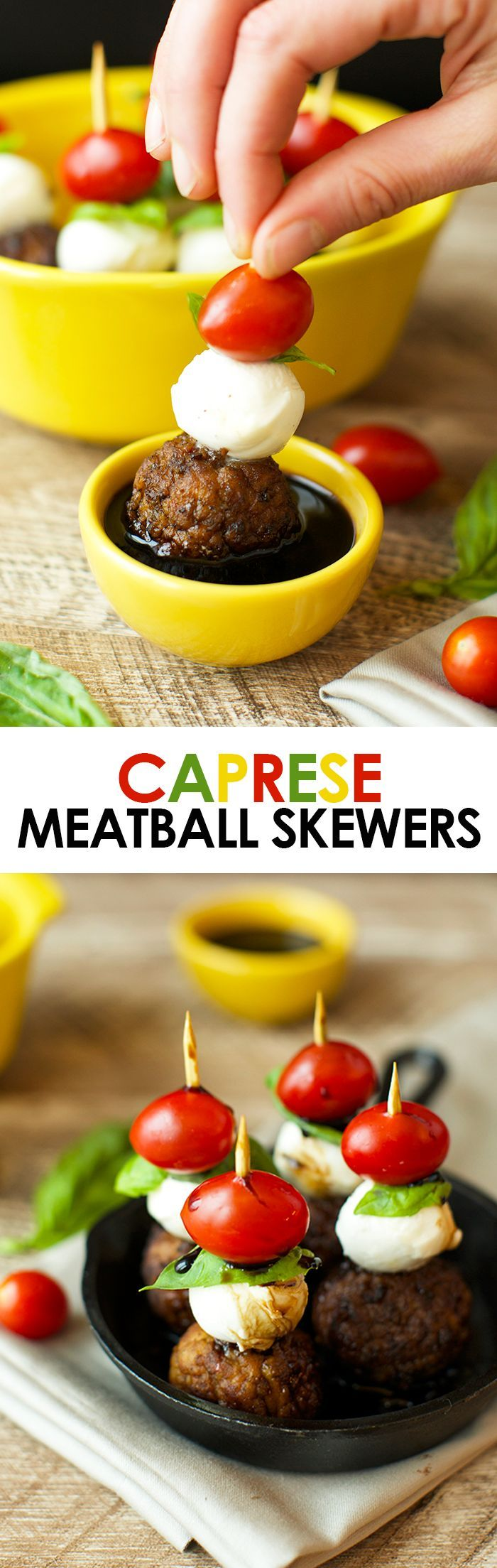 These Caprese Meatball Skewers are the ultimate party appetizer made with balsamic meatballs, fresh mozzarella, basil, and a cherry tomato!