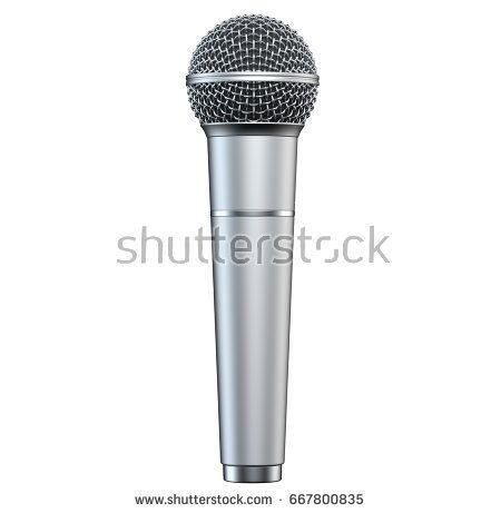 Silver microphone, isolated on white background, 3D render, vertical view.