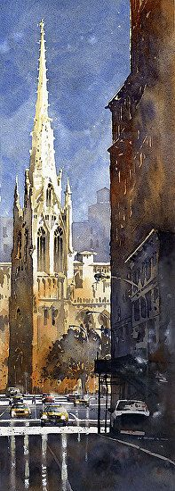 Work Zoom: Grace Church- NYC - by Iain Stewart, Watercolor