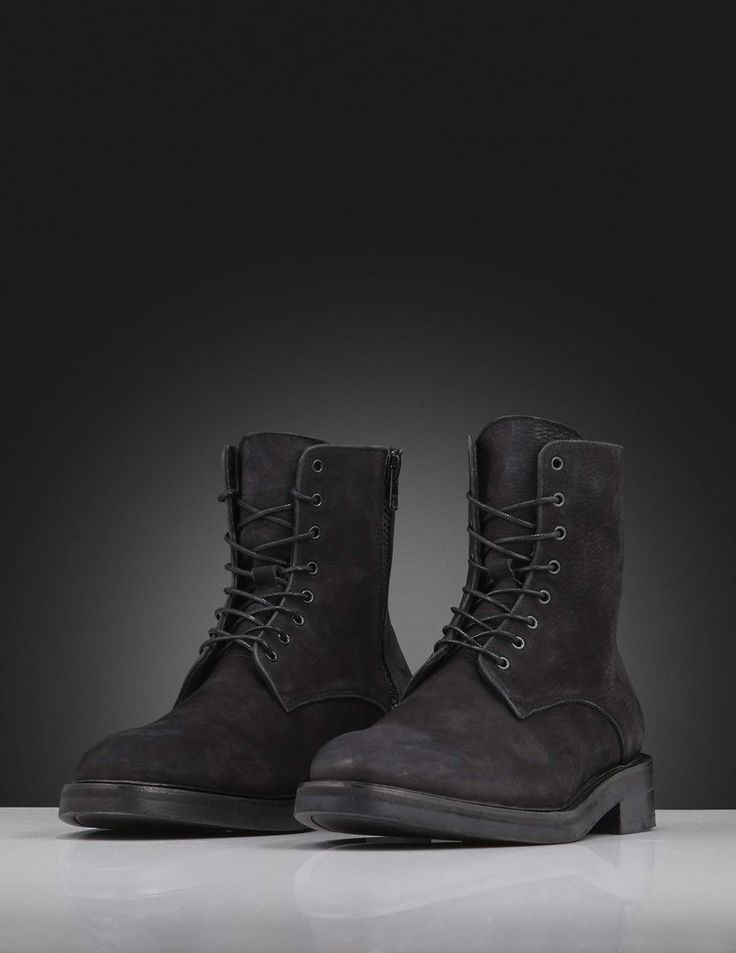 Harald boots-Men's boot in black nubuck with calf lining. Features lace-up fastening with round waxed laces and metal zip fastening at one side. Full interior leather. Heavy rubber outsole with blake sole.