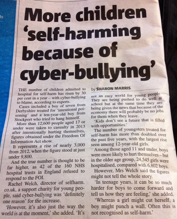 More children 'self-harming because of cyber-bullying'. For support & information check out @selfharmcouk pic.twitter.com/Lyvq4SwBgh