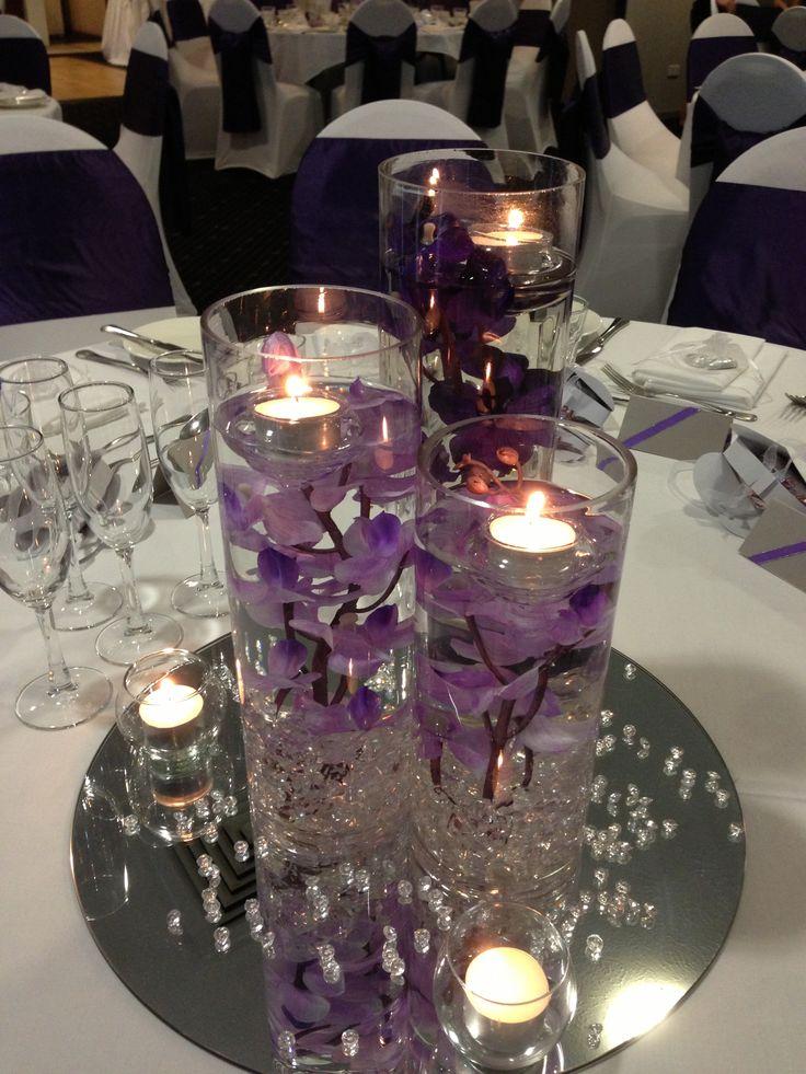 Mercure Townsville - Lakes Room - Wedding Reception - Elegant - Purple - Table Centrepiece