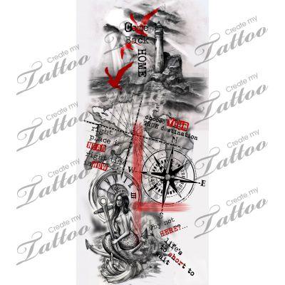 Trash polka nautical sleeve. | nautical trash polka sleeve #209501 | CreateMyTattoo.com