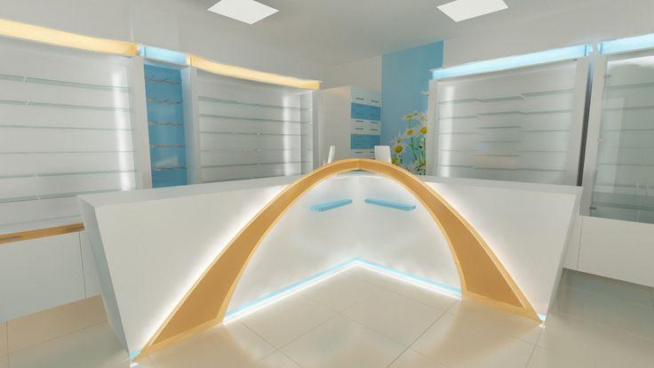 Counter oficina cu 2 posturi de servire si element de design, iluminat.