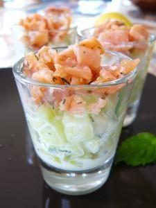 Verrine de pomme, concombre et saumon !! miam