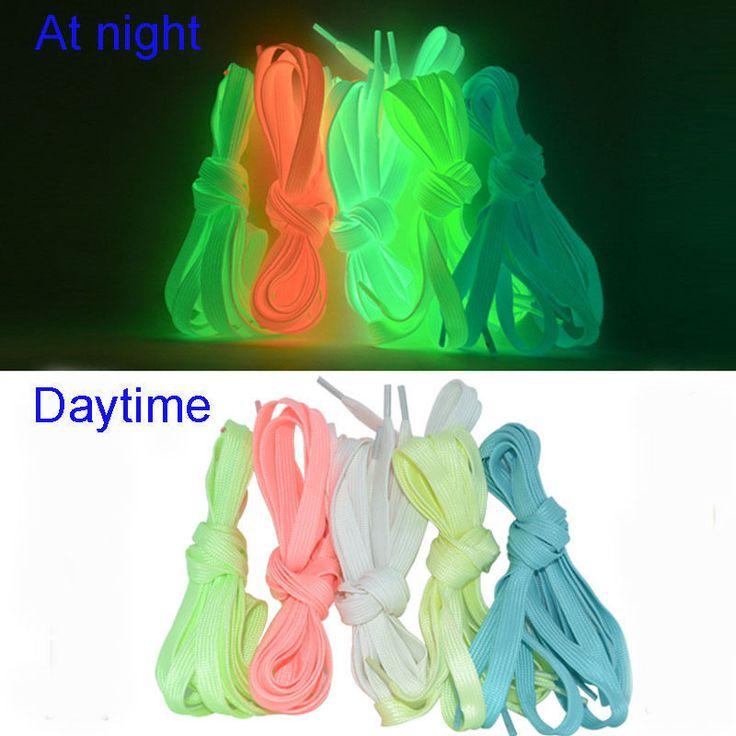 Luminous Glow In The Dark Shoelace Flat Athletic Sport Boots Shoe Laces Strings #Unbranded #LuminousGlowInTheDarkShoelace