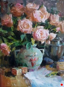 Pink Roses and Blocks by Lange Marshall Oil ~ 16 Inches x 12 Inches