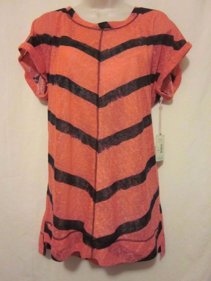 Dept 222 Women's Shirt Hot Pink Navy Blue Stripes Sheer Size Large Indigo Skies #Dept222 #Blouse
