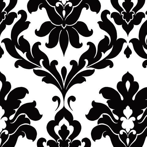 Black and White Alex Damask Wallpaper