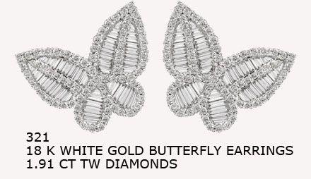 321 18 K WHITE GOLD BUTTERFLY EARRINGS 1.91 CT TW DIAMONDS