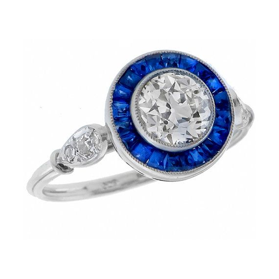 Art Deco Style GIA Certified 0 99ct Diamond Sapphire Gold Engagement