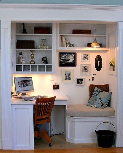 Home office with a built in cushioned seat... because office chairs get boring.  But under the cushion should be storage drawer.   Waste of real-estate