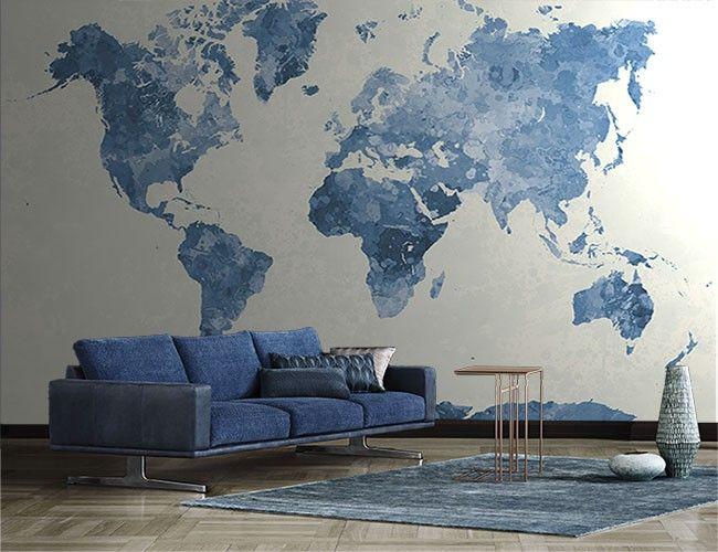 Vlies fotobehang Wereldkaart blauw - Reizen en wereldse sferen | Muurmode.nl