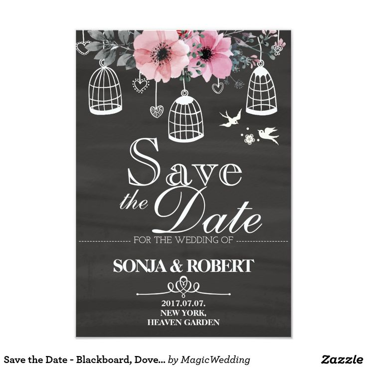 Save the Date - Blackboard, Doves, Cage, Flowers Card