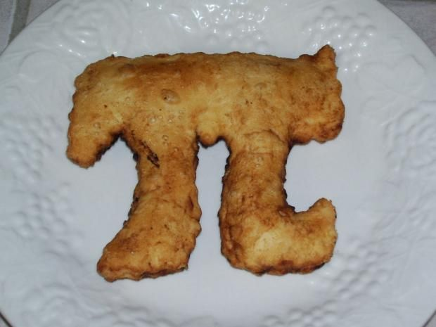 Fried Pi Pies | This one has a chocolate filling, but you can put your favorite flavor inside.