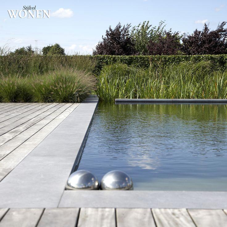 Stijlvol Wonen: het magazine voor warm-hedendaags wonen - ontwerp: Tuinteam - fotografie: Sarah Van Hove, Dorien Ceulemans, Jonah Samyn #outdoor #zwemvijver #hout #terras