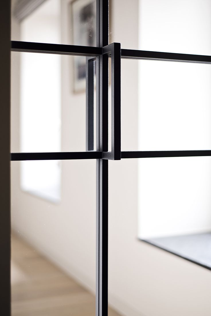 Porte épurée en fer forgé avec verre