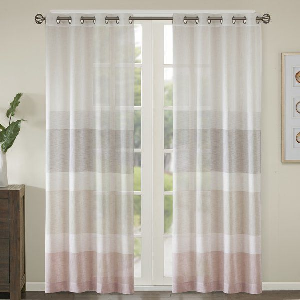 Augustus Striped Sheer Grommet Single Curtain Panel Sheer Window