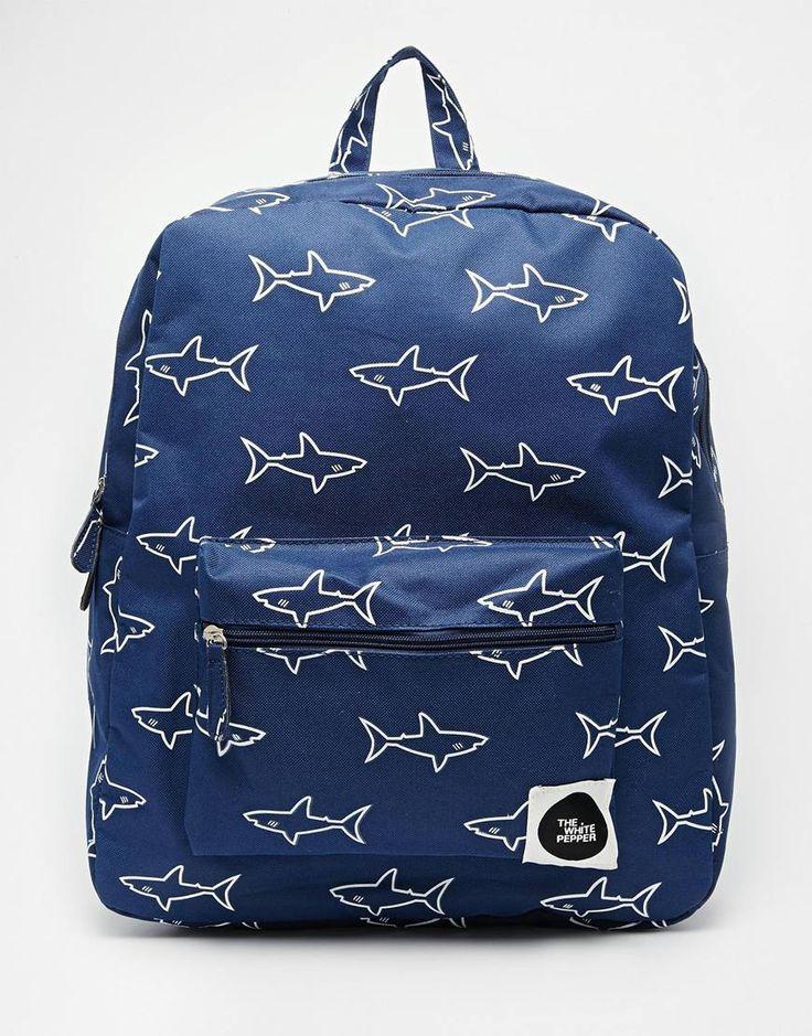 THEWHITEPEPPER Shark Print Backpack
