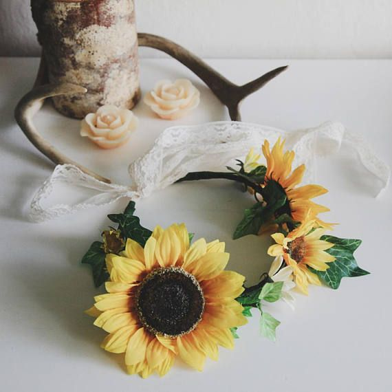 Sunflower Floral Crown  Boho Chic Wedding Crown  Rustic