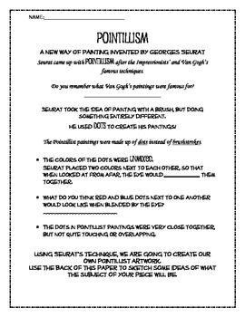Pointillism And Georges Seurat Overview Worksheet
