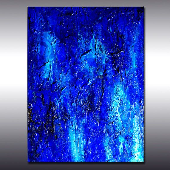 Large Blue Original Textured Abstract Painting Modern