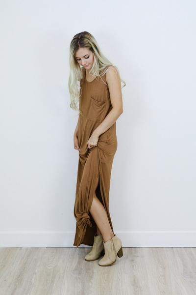 """• super soft long brown maxi dress • available in S, M, L. Aspyn is 5'4"""" and is wearing a size Small. • 92% Rayon, 8% Spandex"""