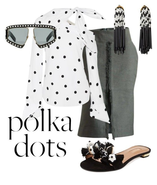 """polka dots"" by constantinerenakossy on Polyvore featuring Monse, Lele Sadoughi, Aquazzura and Gucci"