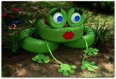 Tire Ladybug | frongs made out of tires | Meet Miss Lilly the Tire Frog
