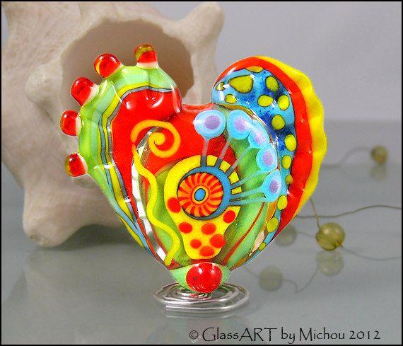 michou a lampwork beads large glass heart focal by michou design