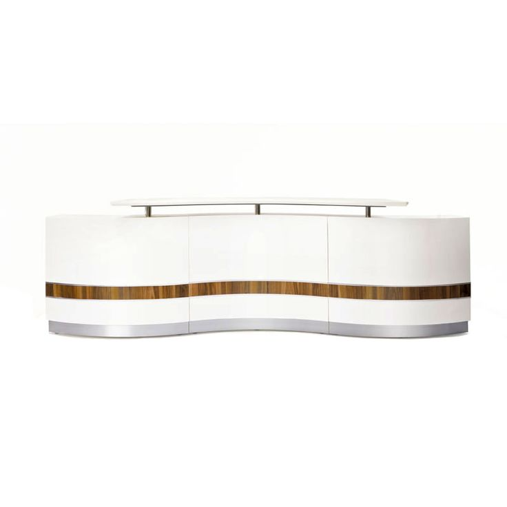 Marto reception counter 3600mm.  The Marto office reception counter provides an elegant and luminescent feel, with its bold white and teak wave front, and boasts a 3360mm width for the larger reception area.