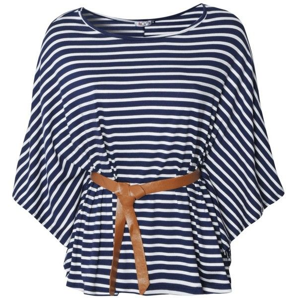 Wal G Striped Belted Top ($19) ❤ liked on Polyvore featuring tops, t-shirts, shirts, blusas, rayon t shirt, nautical striped tee, blue stripe shirt, striped shirt and striped t shirt