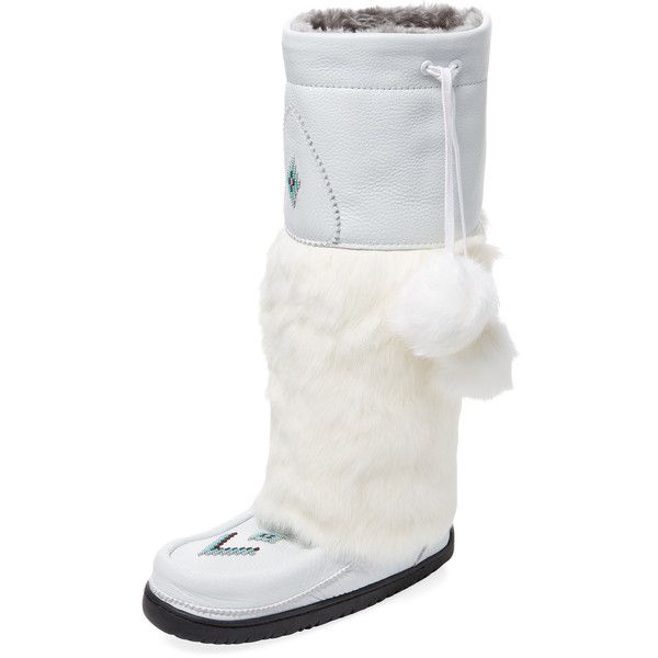 Manitobah Mukluks Women's Tall Grained Leather Mukluk Boot - White (€160) ❤ liked on Polyvore featuring shoes, boots, white, tall boots, mukluk boots, white shoes, full grain leather boots and faux fur lined boots
