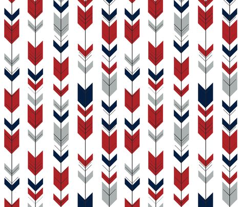 Fletching Arrows Grey Red Navy Fabric By