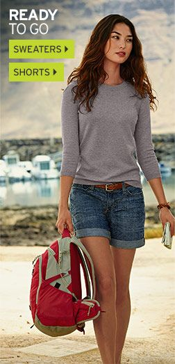 Women's Clothing: Pants, Jeans, Shirts & Dresses | Eddie Bauer shorts are to short for me.But I love this look.