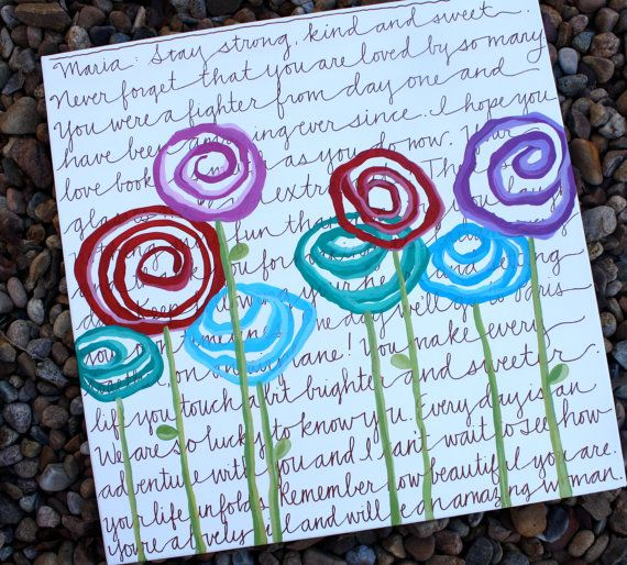 Items similar to 16x20 girls personalized hand painted fresh flower art canvas on Etsy