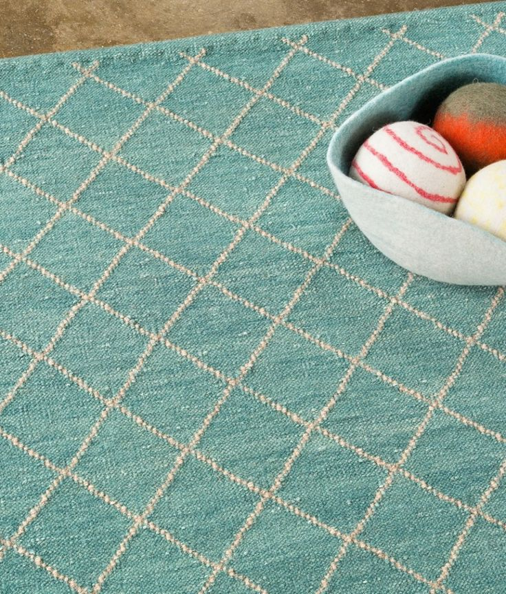 Twine Weave Rug in Turquoise/Granite from Armadillo Relaxed Beach Style.