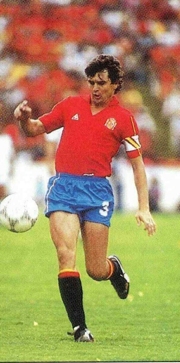 Jose Antonio Camacho in action for Spain at the 1986 World Cup Finals.