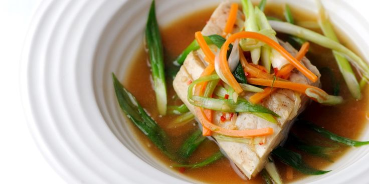 Sea bass is steamed and served with a spicy fish sauce in this Shaun Hill recipe