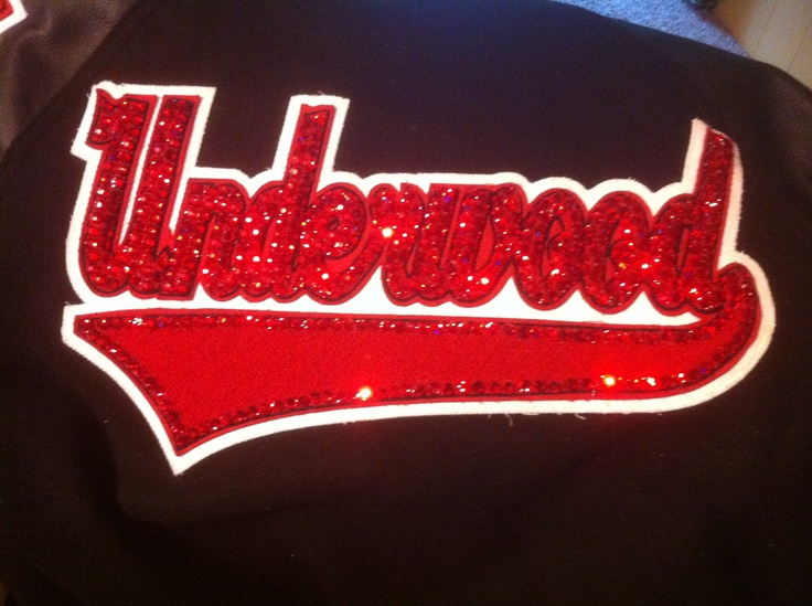 bling on the letterman jacket.   Very time consuming! Swarovski crystals   Letterman. Cheer   I will do it for you!!!