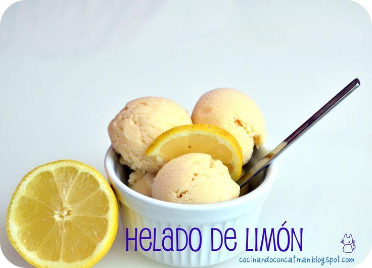 Receta de Helado de limón, suave y cremoso. Con fotografías y consejos de elaboración y conservación. Recetas de helado. Recetas con limón