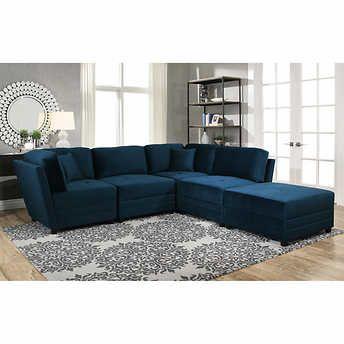 Best Leyla 5 Piece Fabric Modular Sectional Cheap Living Room 400 x 300