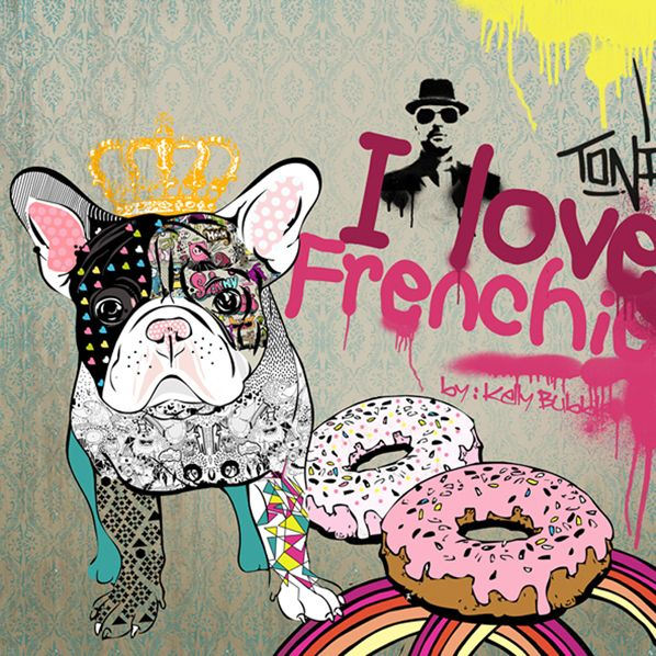 I love Frenchie druk na płótnie w KellyBubble na DaWanda.com