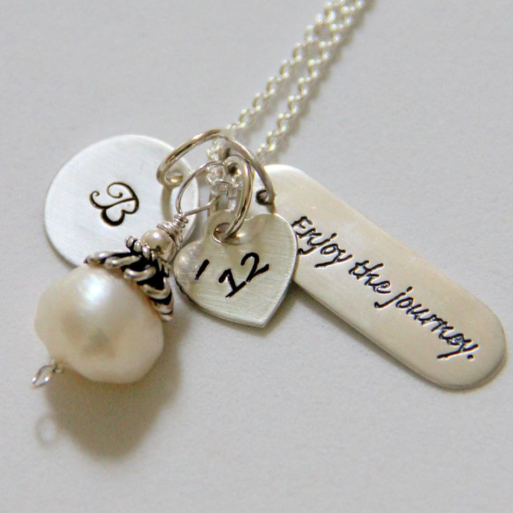 College Graduation NEcklace, Graduation Gift 2012, Poetry Necklace, Word Jewelry, Inspirational Enjoy the journey, Neice Graduation. $49.50, via Etsy.