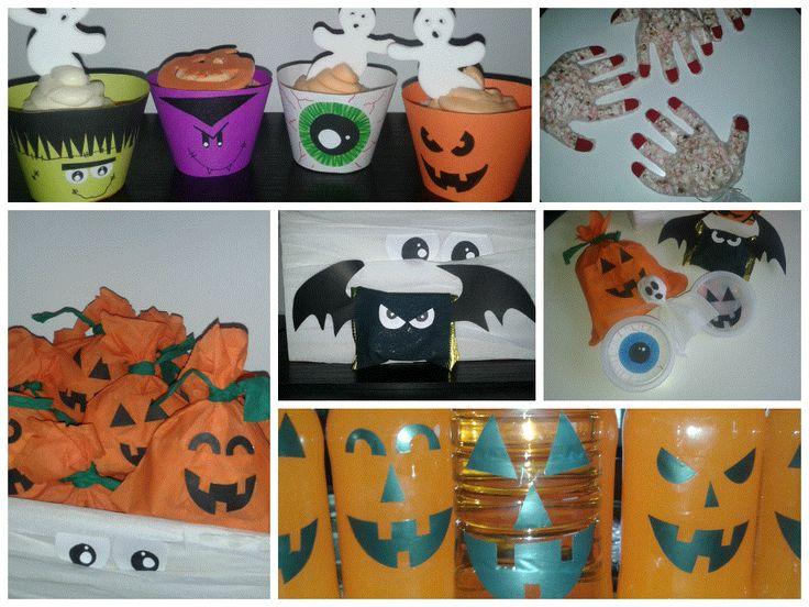 Cupcake.Golosinas. Botellas. Decoradas para halloween.
