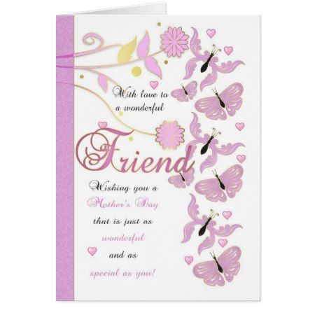 Friend Mother's Day Card With Flowers And Butterfl - tap, personalize, buy right now!